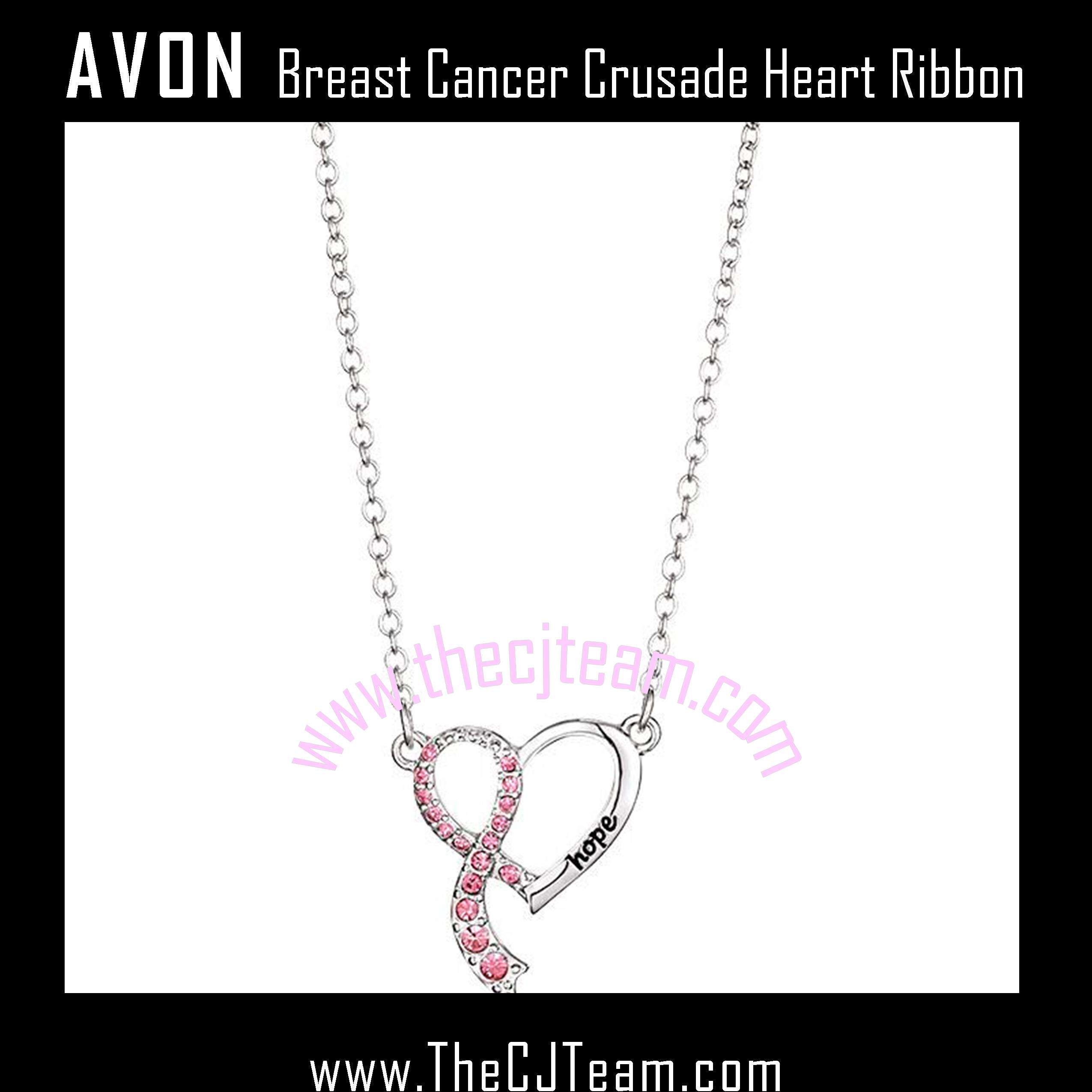Breast Cancer Crusade Heart Ribbon Necklace – More Than Makeup Online For Recent Ribbon Open Heart Necklaces (View 17 of 25)