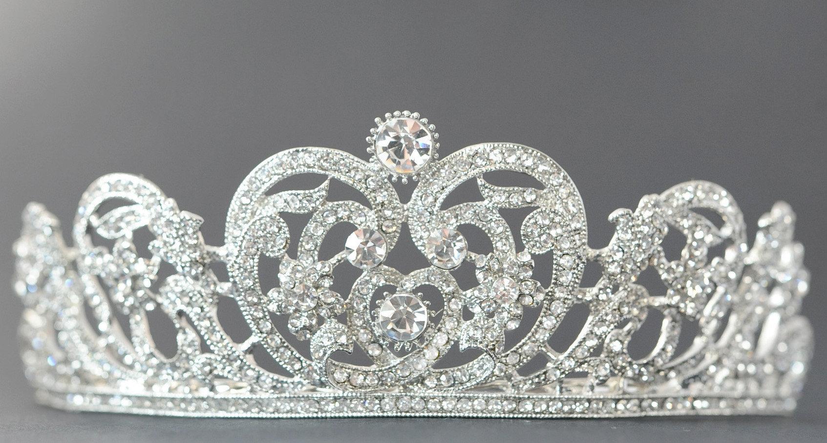 Bridal Tiara Silver Tiara Crystal Bridal Crown Bridal Diadem Wedding Tiara  Dimond Tiara Swarovski Tiara For Bride Zirconia Crown Cz Pertaining To Latest Tiara Crown Collier Necklaces (View 3 of 25)