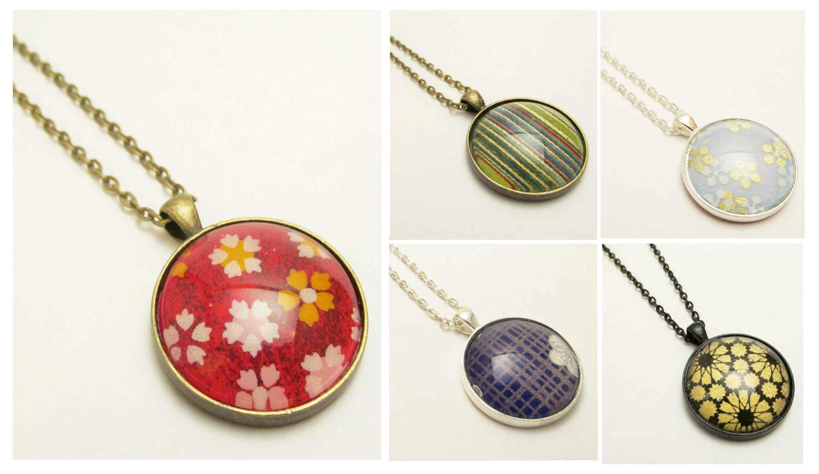 Bright, Bold Red (With White, Yellow, Pink Cherry Blossoms) Japanese Regarding Most Current Pink Cherry Blossom Flower Locket Element Necklaces (View 4 of 25)