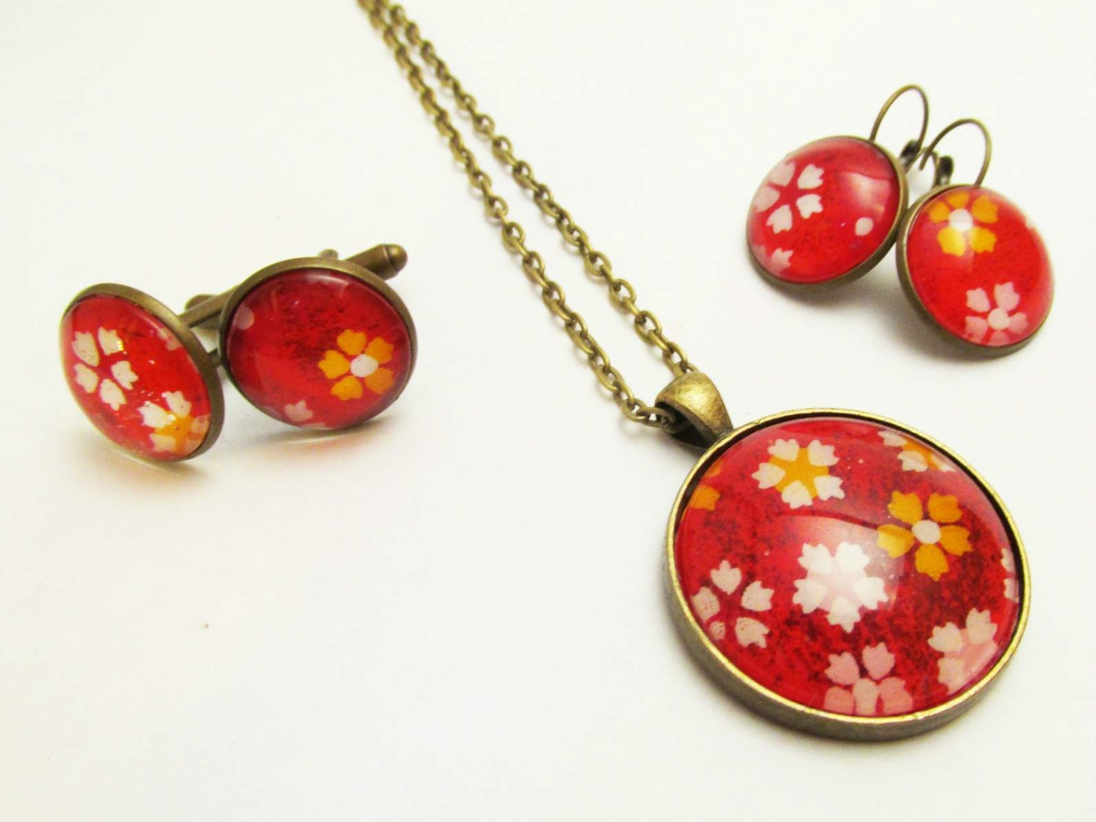 Bright, Bold Red (with White, Yellow, Pink Cherry Blossoms) Japanese With 2020 Pink Cherry Blossom Flower Locket Element Necklaces (View 14 of 25)