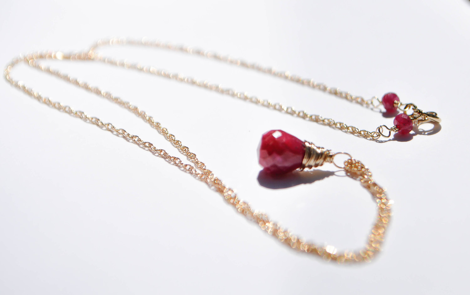 Bright Red Ruby Necklace, Genuine Ruby Pendant Necklace, 14K Gold Filled,  July Birthstone Necklace, For Her, Minimalist Necklace Intended For Most Recent Red July Birthstone Locket Element Necklaces (View 3 of 25)