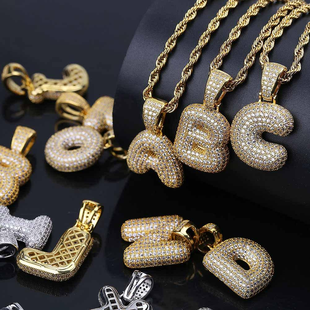 Bubble Alphabet Letters Necklaces Pendant Charm Iced Out Chain For Men  Women 18K Gold Plated /platinum Plated Cubic Zircon Hip Hop Jewelry Intended For Latest Letter T Alphabet Locket Element Necklaces (Gallery 10 of 25)