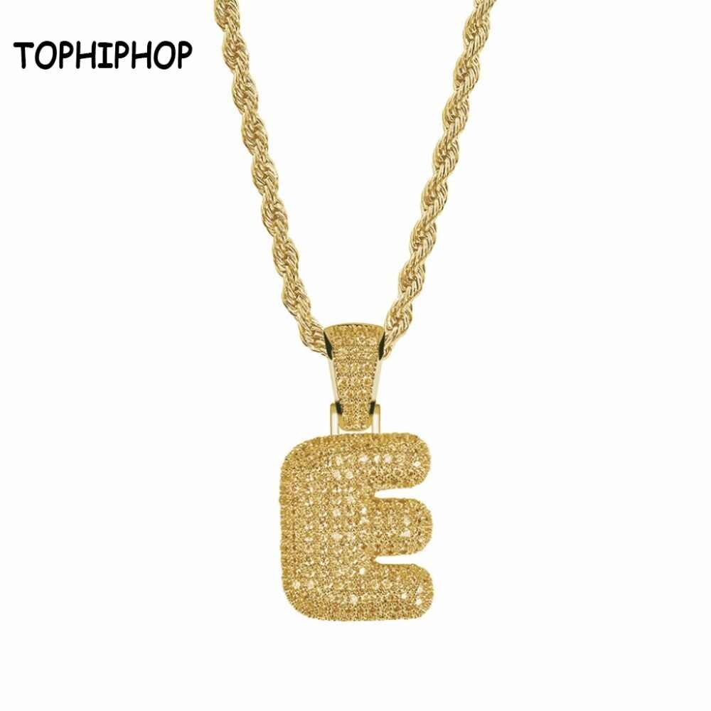 Bubble Letter Aaa+Cubic Zircon Bubble Letters E Pendants&necklaces Men's Hip Hop Jewelry Regarding Latest Letter E Alphabet Locket Element Necklaces (View 2 of 25)
