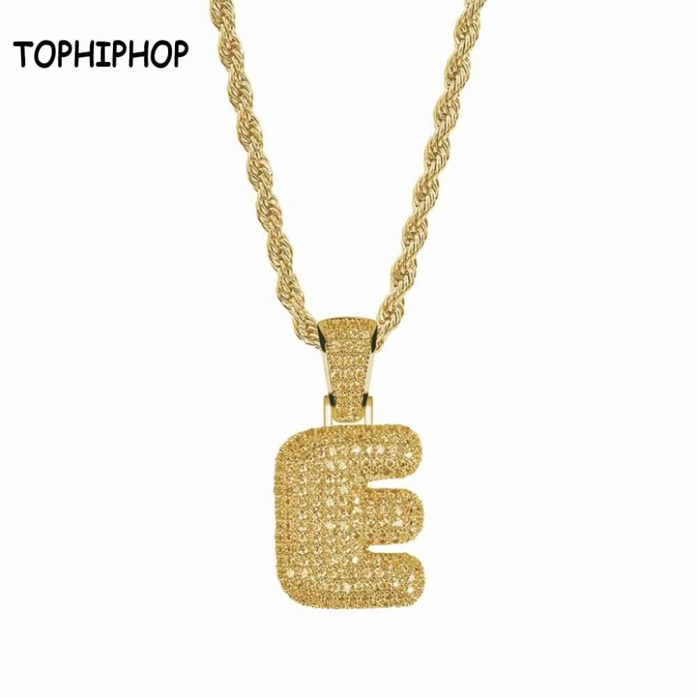 Bubble Letter Aaa+Cubic Zircon Bubble Letters E Pendants&necklaces Men's Hip Hop Jewelry Throughout Current Letter D Alphabet Locket Element Necklaces (View 4 of 25)