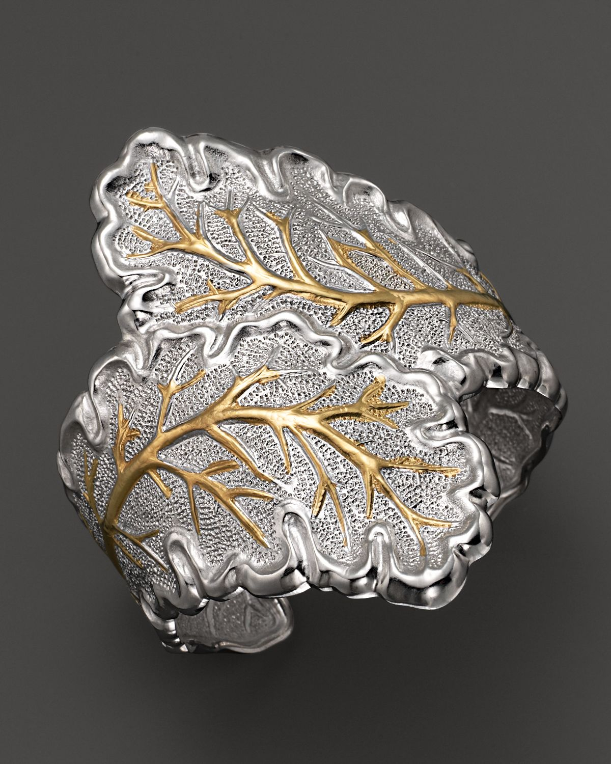 Buccellati Metallic Double Oak Leaf Cuff Bracelet With Gold Accents Pertaining To Latest Oak Leaf Double Rings (View 6 of 25)