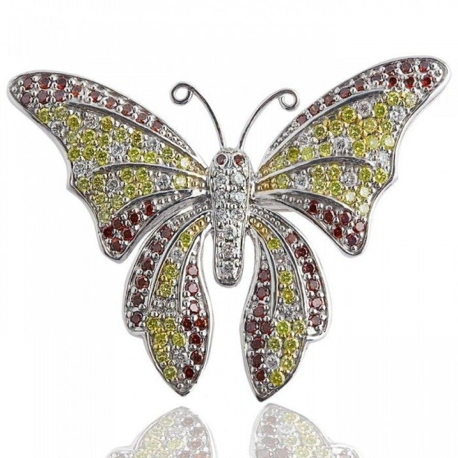 Butterfly Brooch Natural Colored Diamond Pin 14k White Gold ( (View 13 of 25)