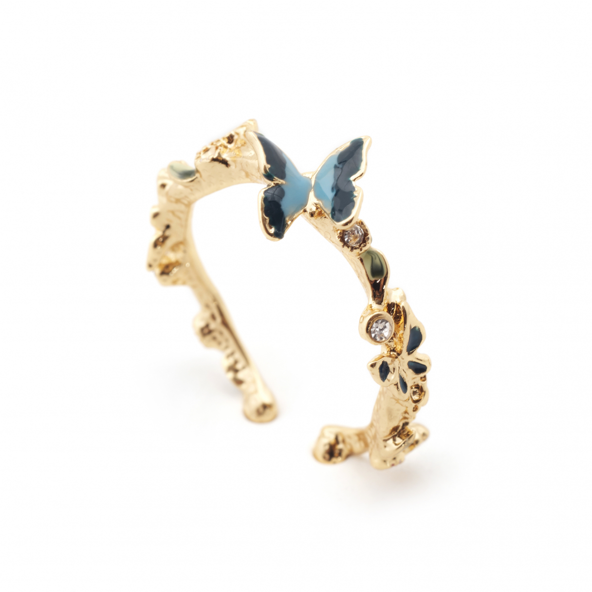 Butterfly & Crystal Open Ring – Gold Intended For Recent Butterfly Open Rings (View 6 of 25)