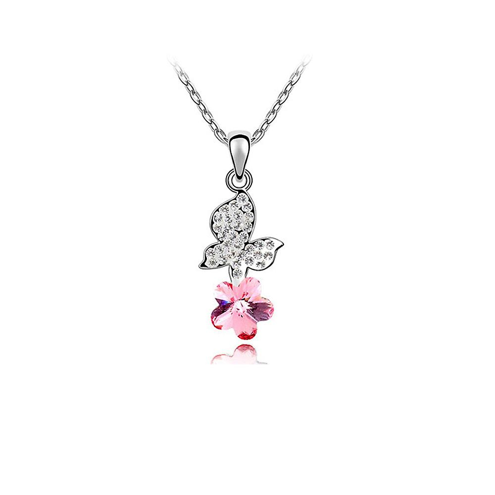 Butterfly Necklace Adorned With Swarovski Rose Crystal With Regard To Latest Pink Butterfly Locket Element Necklaces (View 11 of 25)