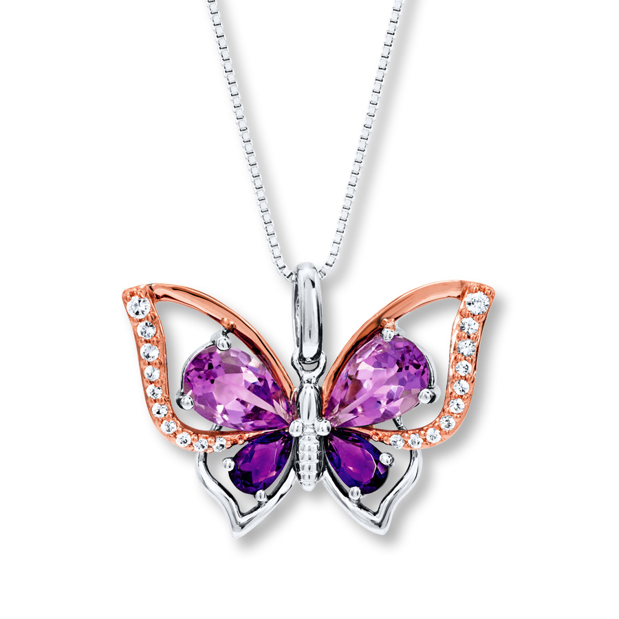 Butterfly Necklace Amethyst Sterling Silver/10K Rose Gold For Most Popular Pink Butterfly Locket Element Necklaces (View 5 of 25)