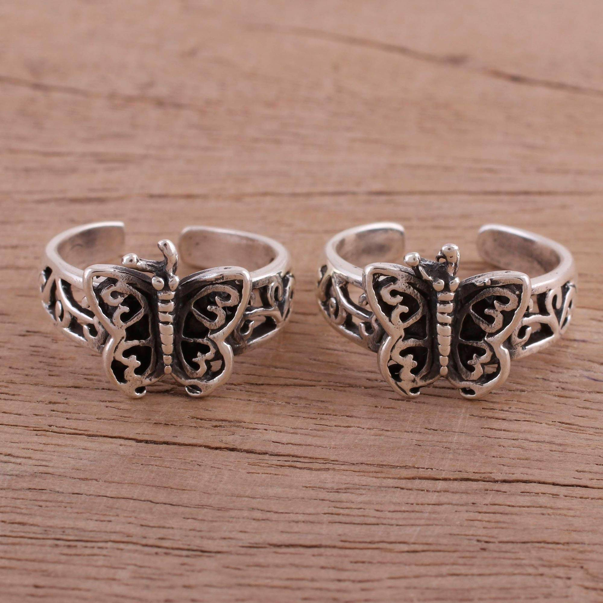 Butterfly Openwork Sterling Silver Toe Rings (pair), 'butterfly Twins' With Regard To Newest Openwork Butterfly Rings (View 8 of 25)