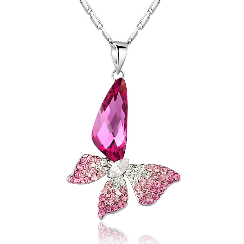 Butterfly Wing Drop Swarovski Elements Crystal Pendant Necklace – Pink Regarding Newest Pink Butterfly Locket Element Necklaces (View 7 of 25)
