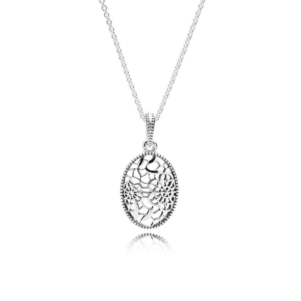 Buy Cheap Pandora Floral Daisy Lace Pendant Necklace Online Sale Within Newest Shimmering Snowflake Locket Element Necklaces (View 16 of 25)