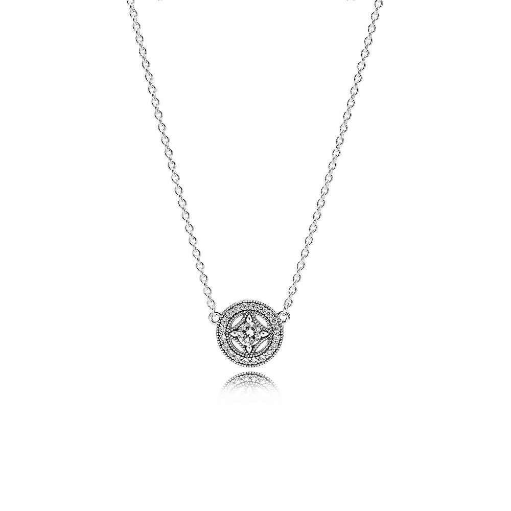 Buy Cheap Pandora Vintage Allure Pendant Necklace,clear Cz Online Intended For Latest Royal Green Crystal May Droplet Pendant Necklaces (View 3 of 25)
