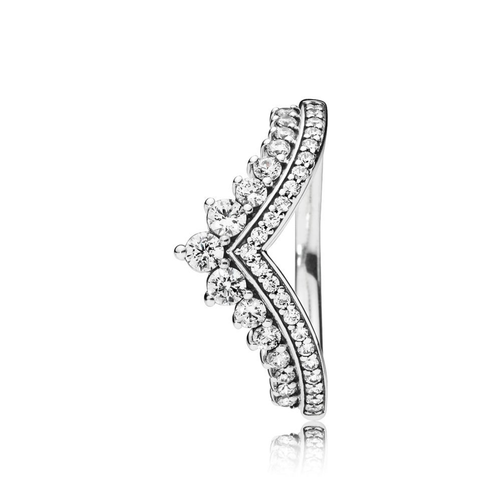 Buy Pandora Princess Wishbone Silver, Cubic Zirconia Ring 197736Cz With Regard To Most Current Princess Wishbone Rings (View 9 of 25)