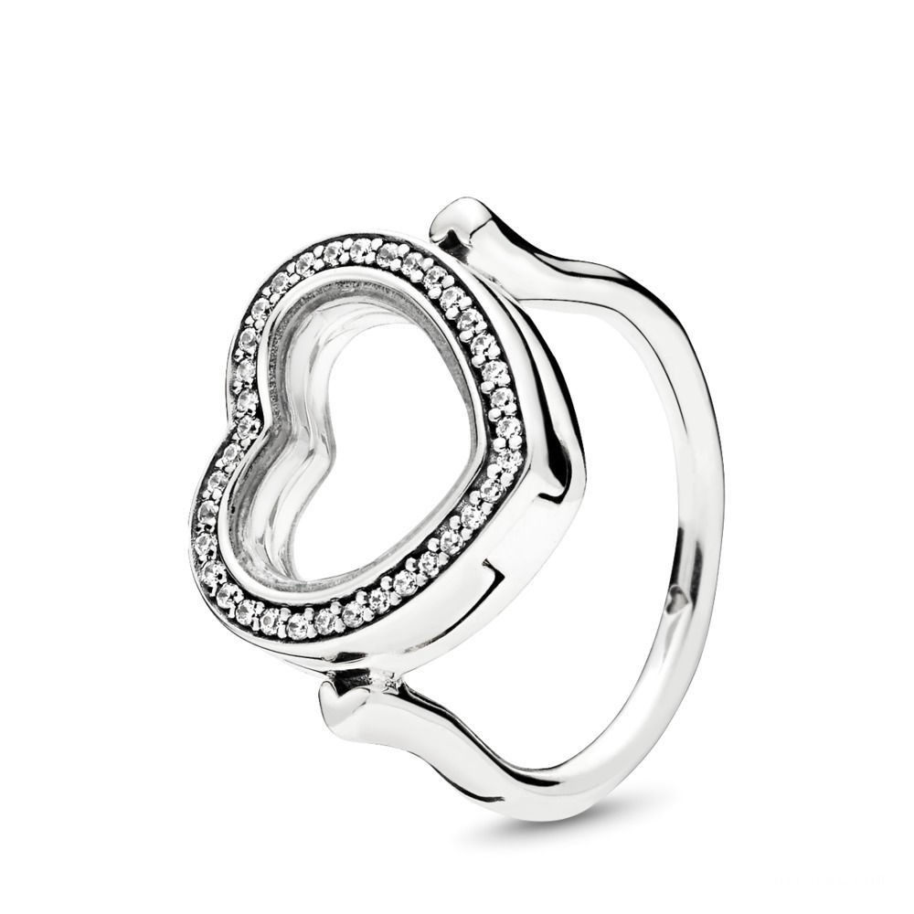 Buy Pandora Sparkling Floating Heart Locket Ring Sterling Silver Throughout Best And Newest Sparkling & Polished Lines Rings (View 4 of 25)