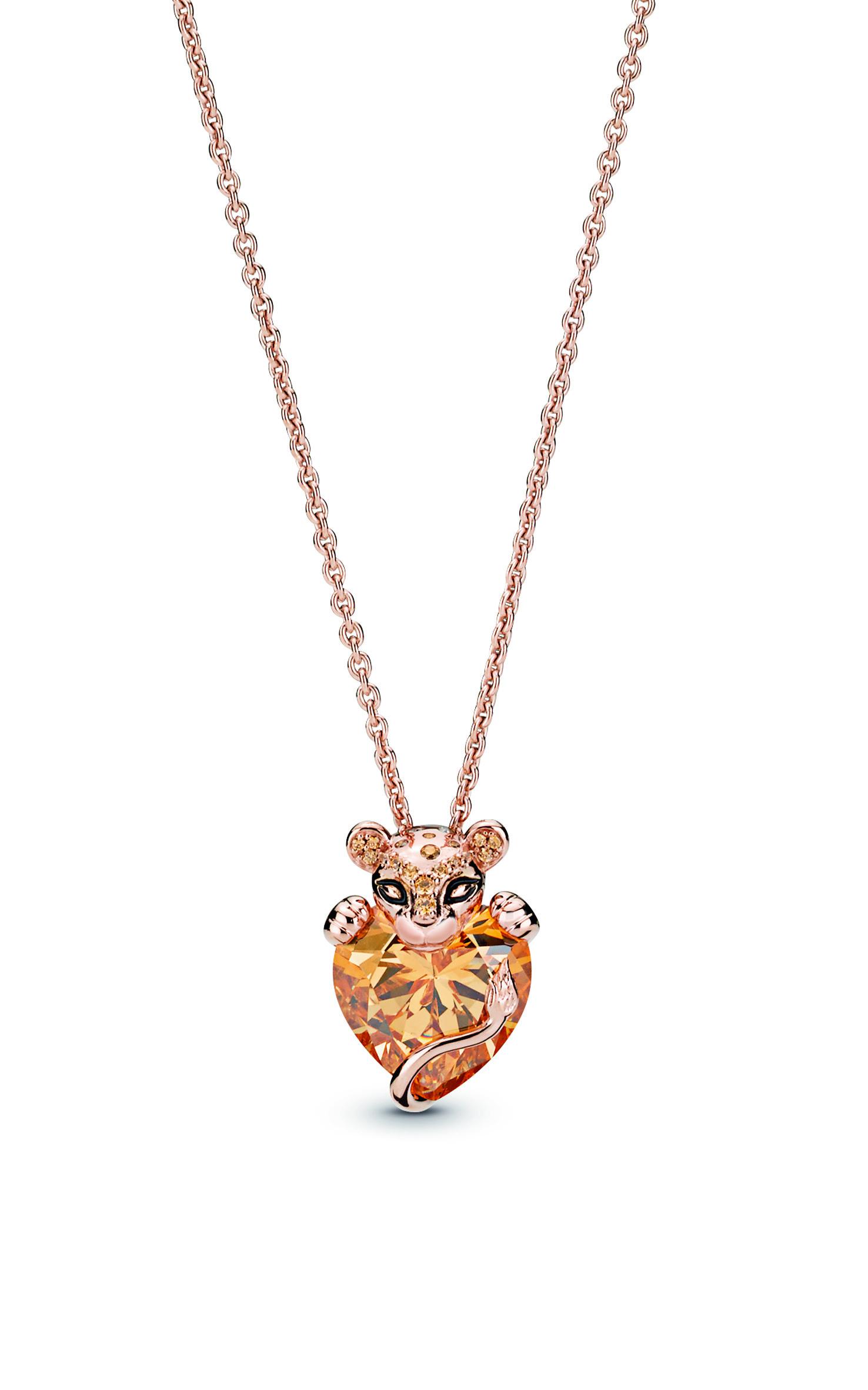Buy Sparkling Lion Princess Heart Necklace Pandora Rose™ 388068Czm Throughout Most Current Matte Brilliance Heart Pendant Necklaces (View 21 of 25)