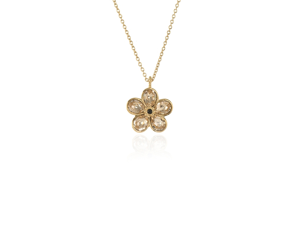 Cachet Swarovski Crystal Forget Me Not Pendant Gold Light Silk Regarding Current Forget Me Not Necklaces (View 1 of 25)