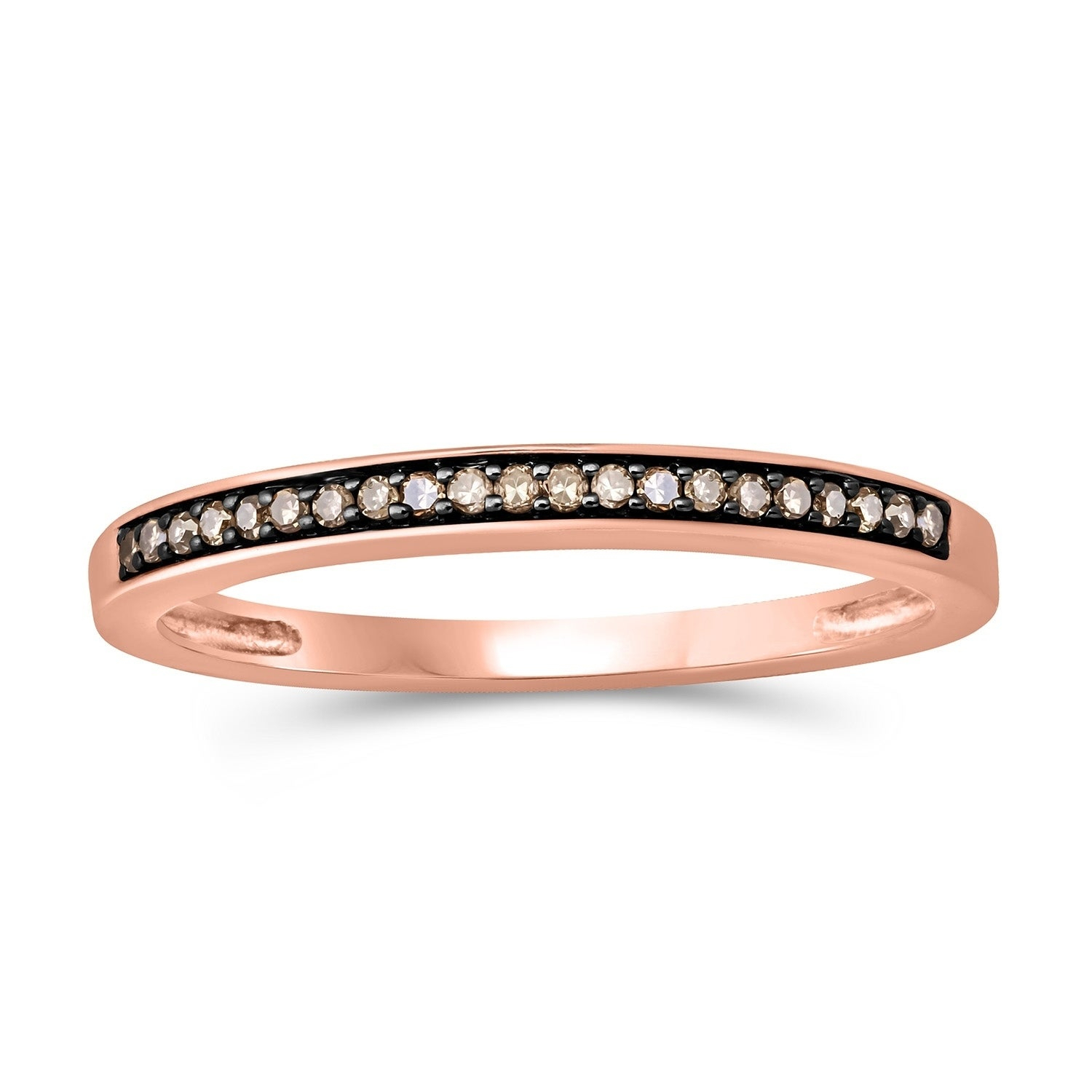 Cali Trove 10kt Rose Gold 1/10ct Tdw Champagne Diamond Anniversary Band Throughout Current Champagne Diamond Anniversary Bands In Rose Gold (View 18 of 25)