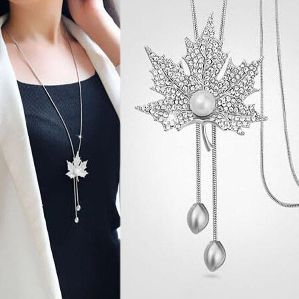 Canada Style The Maple Leaf Long Pendant Necklace Vintage Sweater Chain For Women Shiny Austrian Crystal Jewelry For Party Intended For Best And Newest Shining Leaf Pendant Necklaces (View 13 of 25)