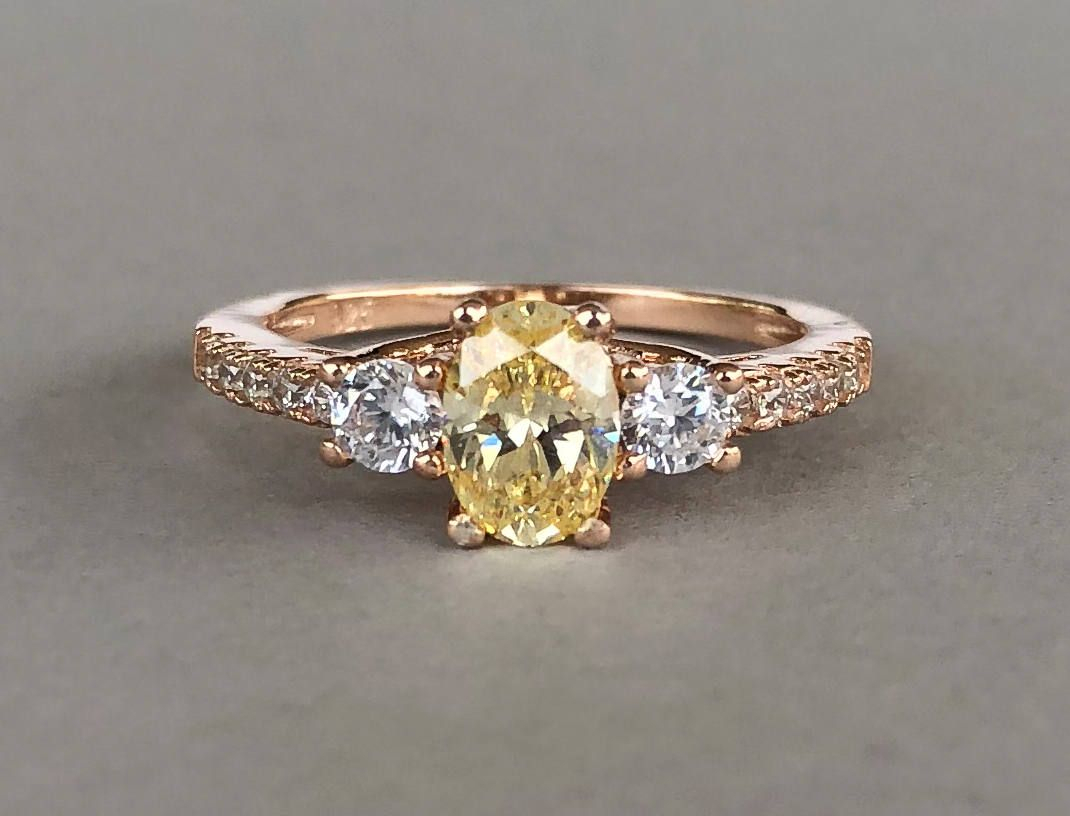 Canary Yellow Diamond Ring Rose Gold Oval Simulated Canary Intended For Newest Composite Diamond Five Stone Anniversary Bands In White Gold (View 10 of 25)