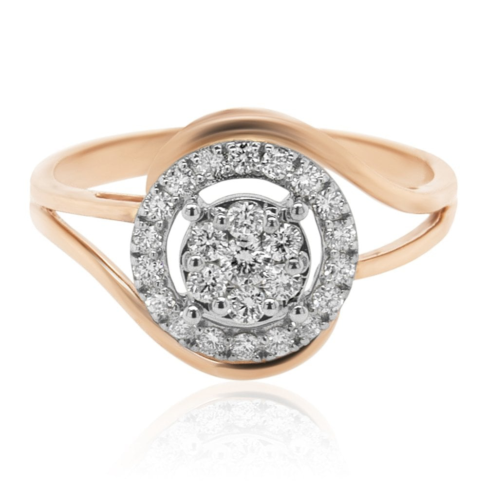 Carat Craft Intertwined Sparkling Halo Diamond Ring In Current Sparkling Halo Rings (View 3 of 25)