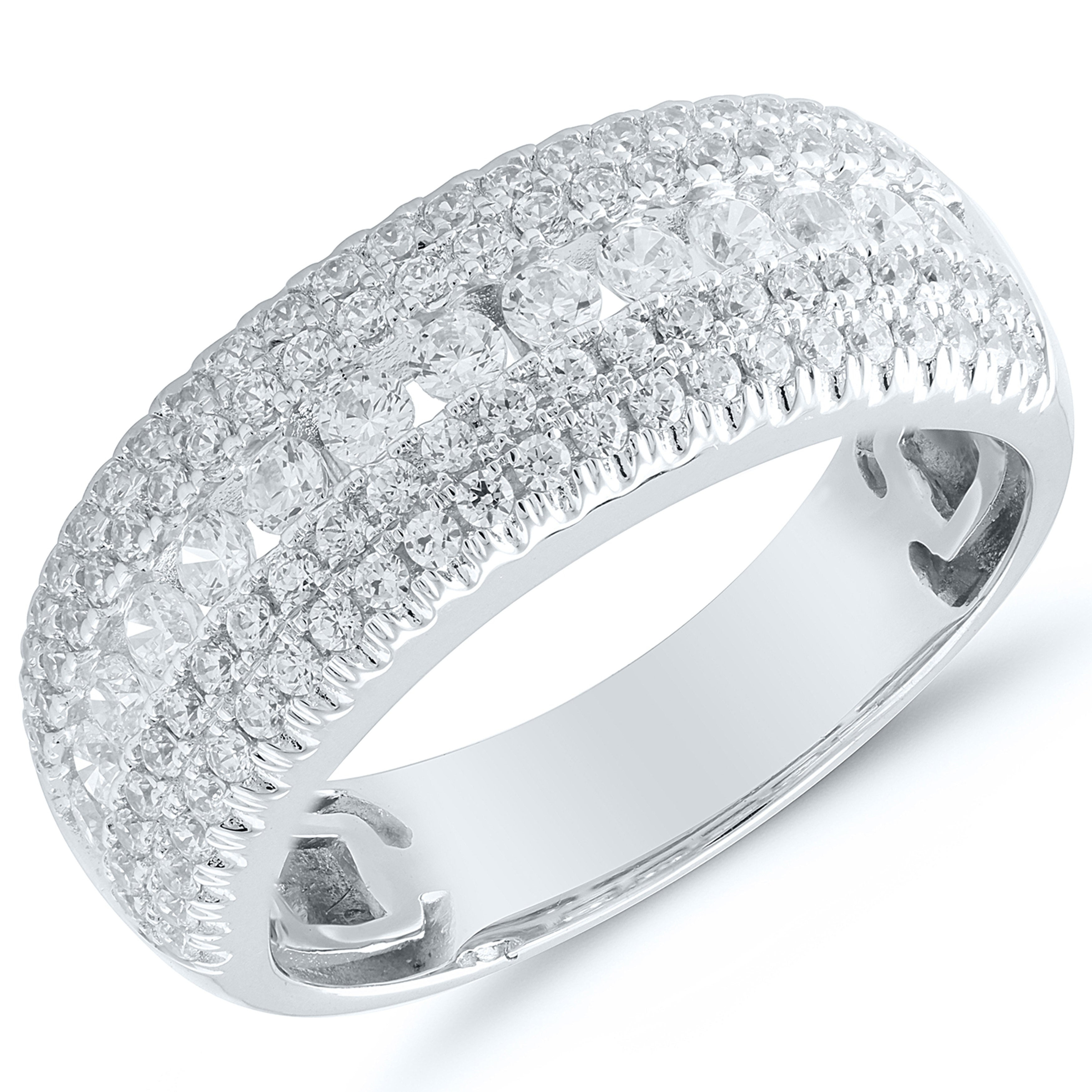 Featured Photo of Diamond Multi Row Anniversary Bands In White Gold