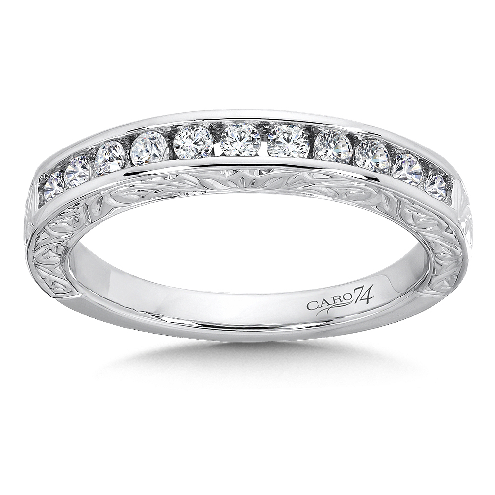 Caro74 Channel Set Diamond Anniversary Band With Hand Throughout Latest Diamond Channel Anniversary Bands In Gold (View 7 of 25)