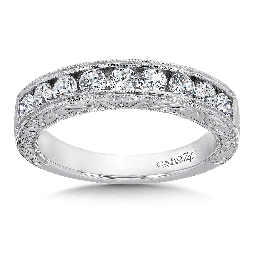 Caro74 Channel Set Diamond Anniversary Band With Milgrain For Best And Newest Diamond Accent Channel Anniversary Bands In White Gold (View 12 of 25)