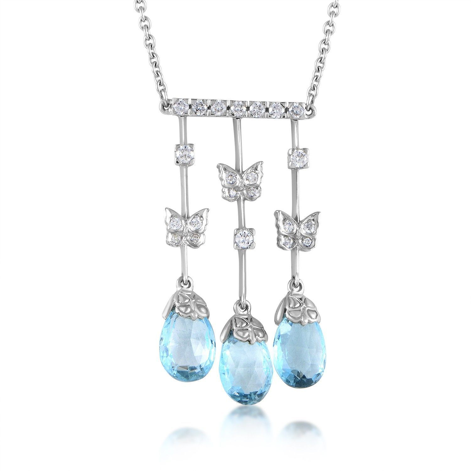 Carrera Y Carrera Baile De Mariposas 18K White Gold Diamond And Topaz  Briolette Pendant Necklace Intended For 2020 Sparkling Butterfly Y  Necklaces (View 9 of 25)