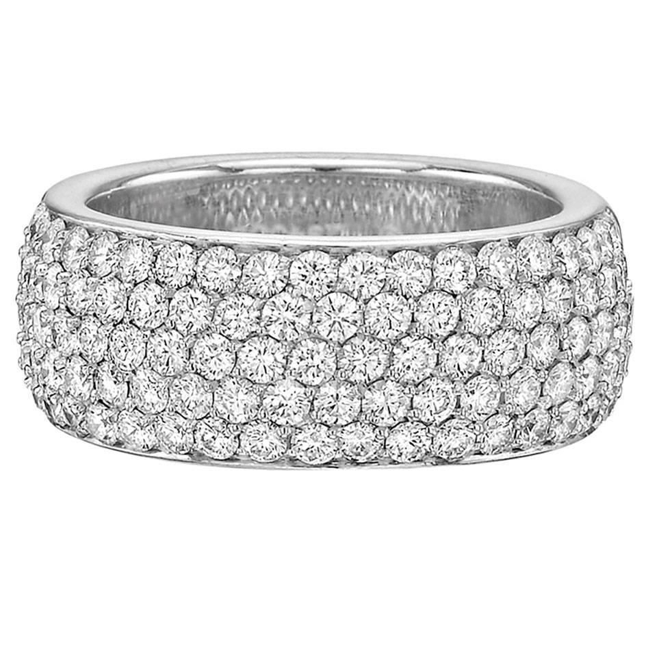 Cartier – 5 Row Eternity Band Ring Diamond,white Diamond 18K Within Most Current Celebration Ideal 1Diamond Five Stone Anniversary Bands In White Gold (View 9 of 25)