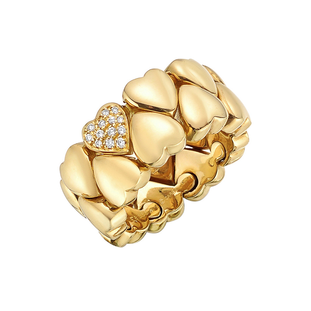 Cartier Gold Diamond Double Hearts Band Ring | Betteridge Pertaining To Most Recently Released Pavé Hearts Band Rings (Gallery 15 of 25)