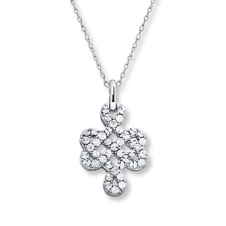 Celtic Knot Necklace Diamond Accents Sterling Silver – 173217908 – Kay With Recent Shimmering Knot Pendant Necklaces (View 16 of 25)