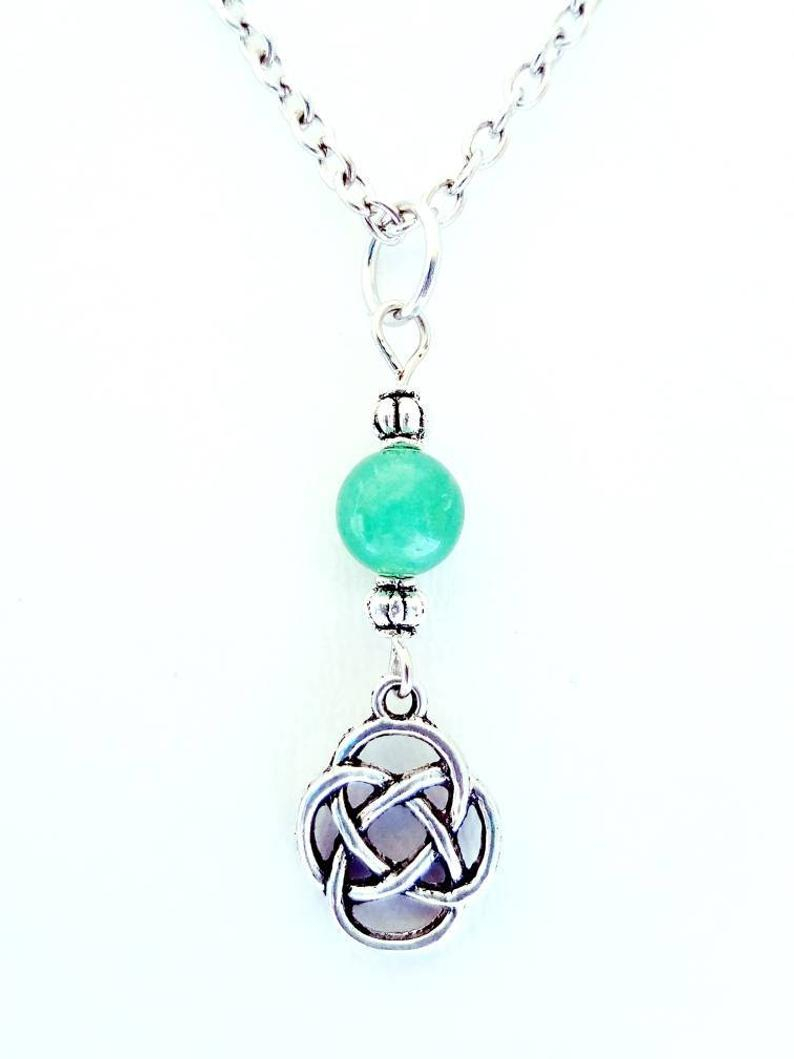 Celtic Knot Necklace Tibetan Silver Shimmering Aventurine Stone Stevie Nicks Style Gypsy Boho Jewelry Pendant Unique Gift For Her Celtic Within Latest Shimmering Knot Pendant Necklaces (View 5 of 25)