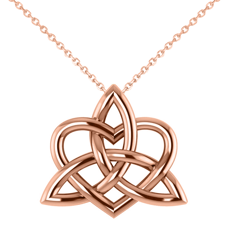 Celtic Trinity Knot Heart Pendant Necklace 14K Rose Gold Throughout Latest Knotted Heart Pendant Necklaces (View 4 of 25)