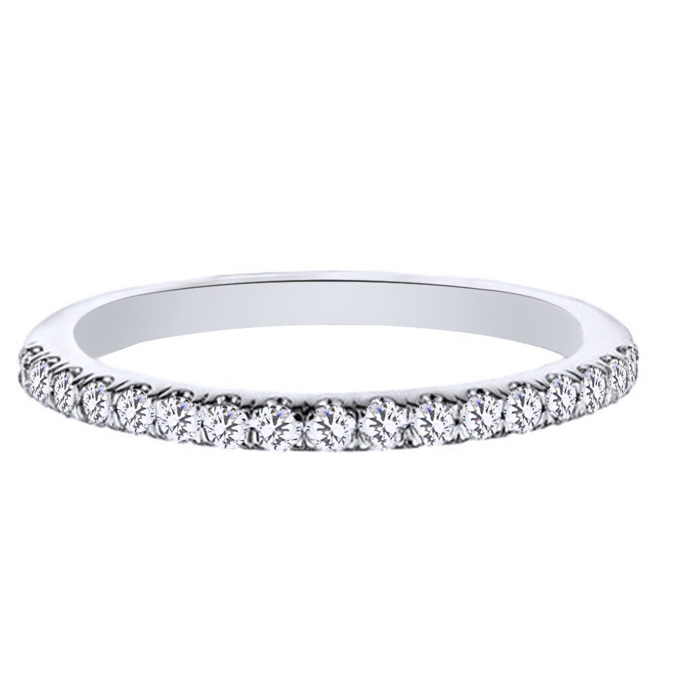 Certified 1/4Ct Diamond Anniversary Band Ring 10K White Gold $1125 | Ebay Pertaining To Newest Certified Princess Cut Diamond Contour Anniversary Bands In White Gold (Gallery 16 of 25)