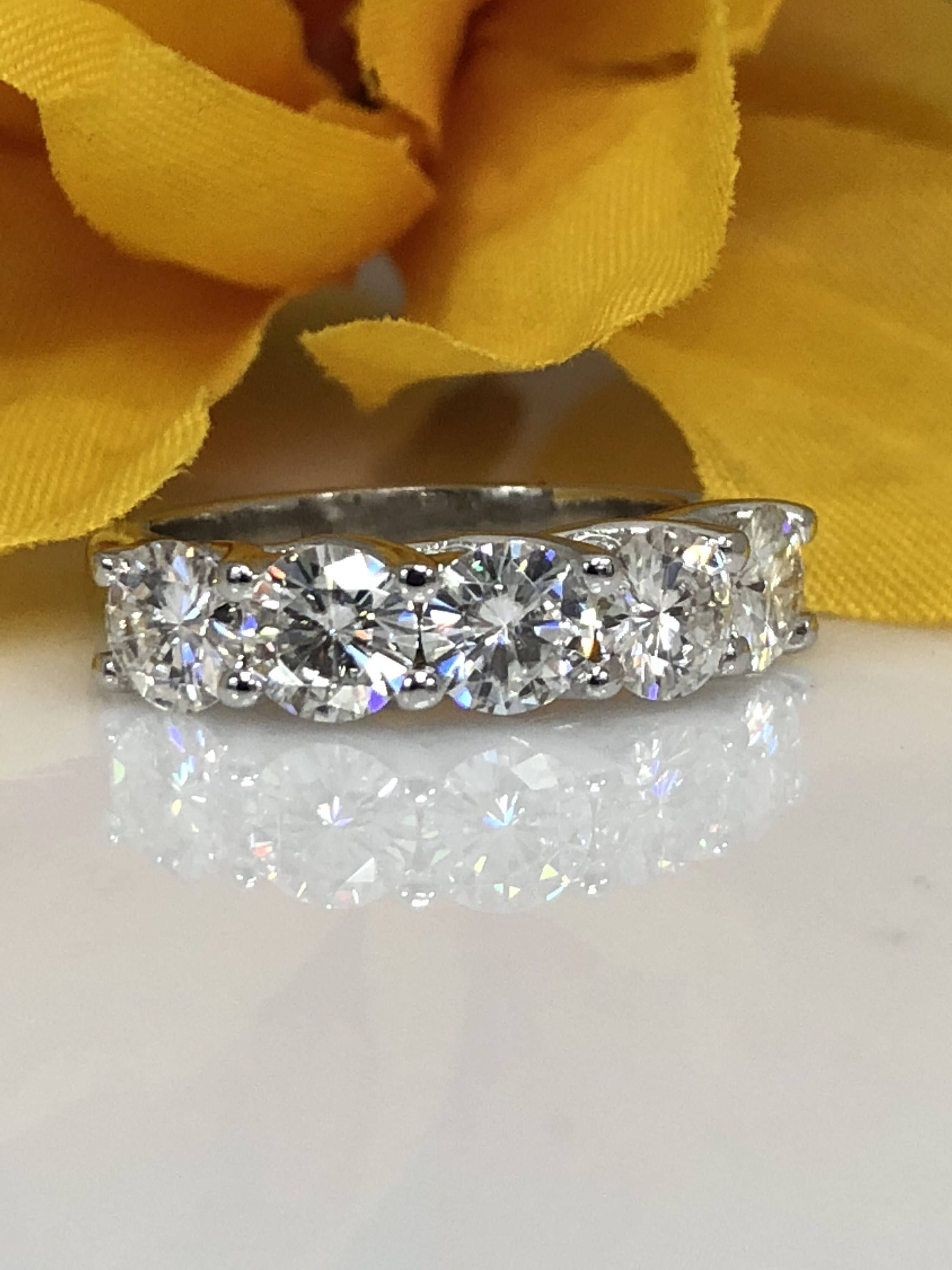 Certified Moissanite 5 Stone 2.50Ctw (View 13 of 25)
