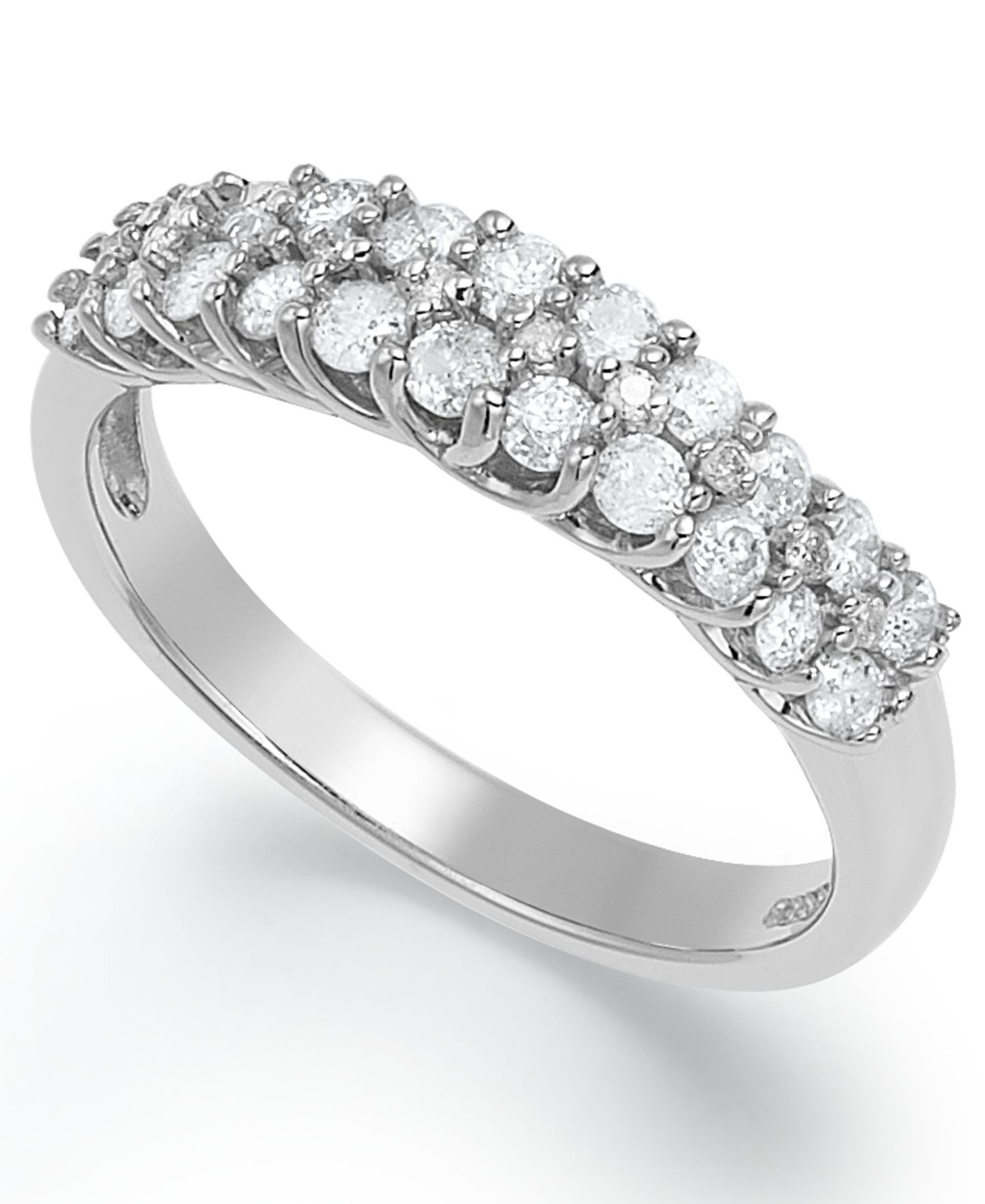 Certified Round Cut Diamond Two Row Wedding Band Ring In Throughout Newest Diamond Two Row Anniversary Bands In Sterling Silver (View 6 of 25)
