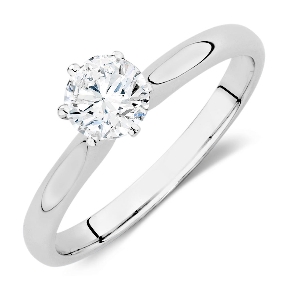 Certified Solitaire Engagement Ring With A 1/2 Carat Tw Regarding Recent Certified Diamond Anniversary Bands In White Gold (View 24 of 25)