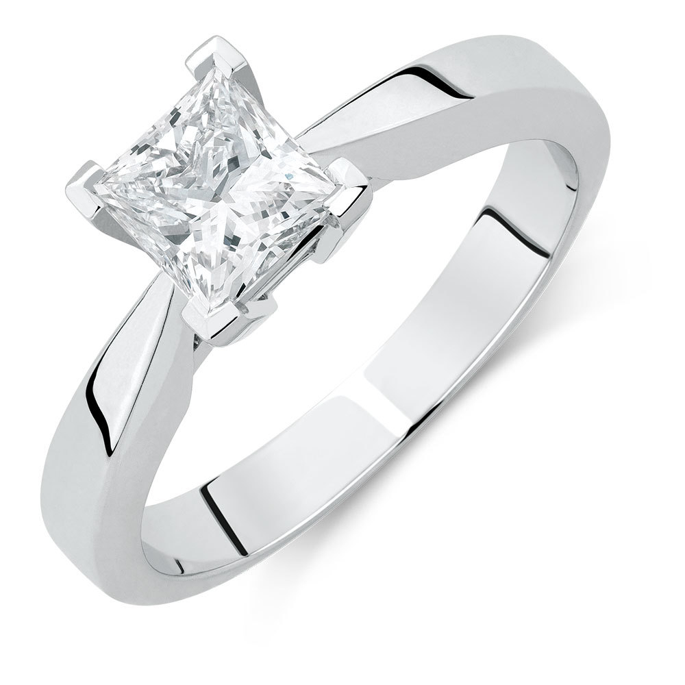 Certified Solitaire Engagement Ring With A 1 Carat Tw In Most Recent Certified Princess Cut Diamond Anniversary Bands In White Gold (View 12 of 25)