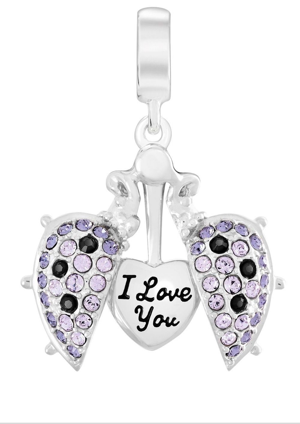 Chamilia Love Bug Secret Message Swarovski Crystal Charm | Pandora Throughout Most Recent Purple Ladybird Locket Element Necklaces (View 13 of 25)