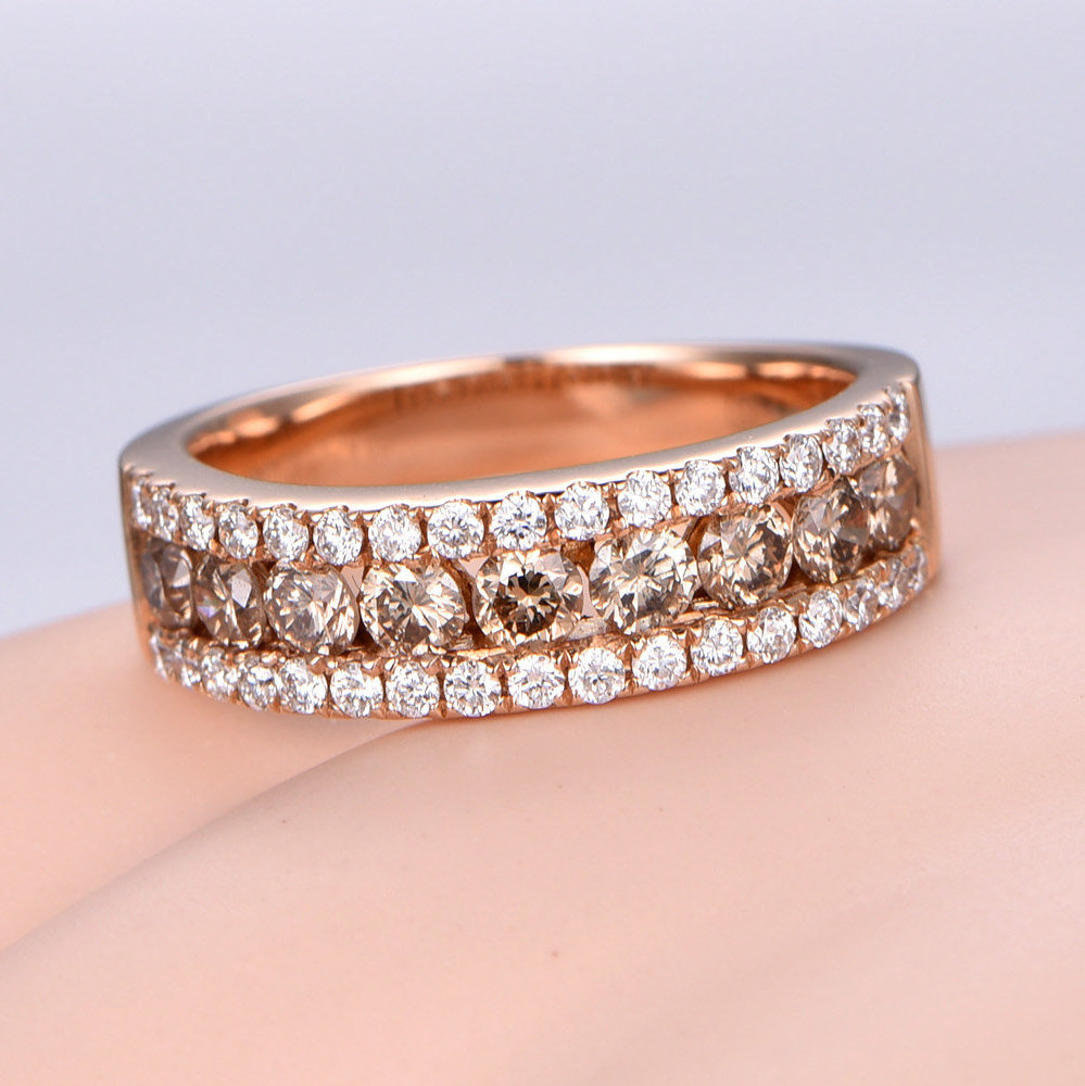 Champagne Diamond Band Wedding Band Solid 14k Rose Gold Eternity Ring Engagement Ring Tacking Matching Band Anniversary Ring Men's Ring Intended For Most Recent Champagne And White Diamond Quilted Anniversary Rings In White Gold (View 2 of 25)