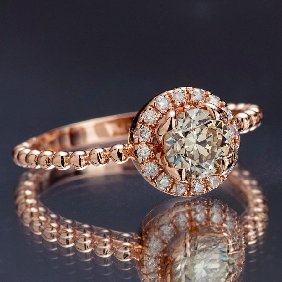 Champagne Diamond Engagement Ring, Rose Gold Diamond Halo Regarding Newest Champagne Diamond Anniversary Bands In Rose Gold (View 12 of 25)