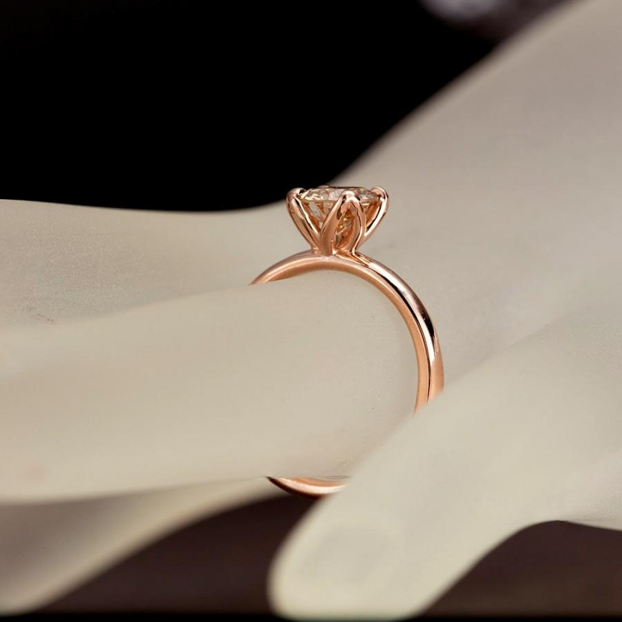 Champagne Diamond Engagement Ring, Tulip Solitaire Ring, 14k Within Most Current Champagne And White Diamond Edge Anniversary Bands In Rose Gold (View 14 of 25)