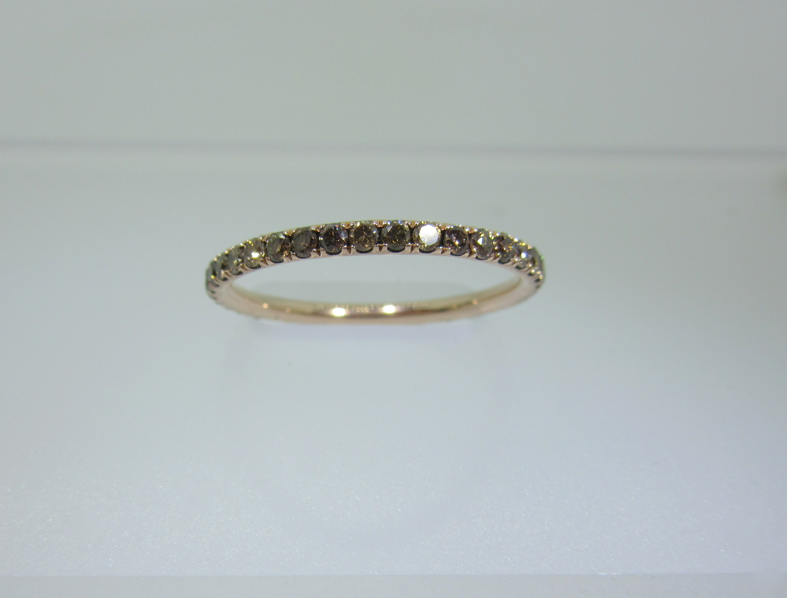 Champagne Diamond Eternity Band Inside Most Up To Date Champagne Diamond Anniversary Bands In Rose Gold (View 6 of 25)