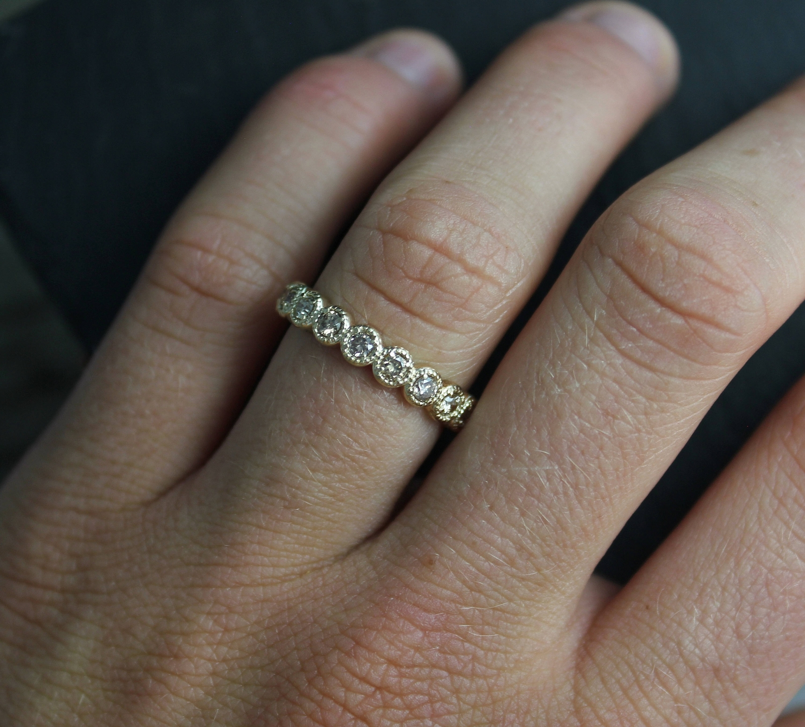 Champagne Diamond In 14K Yellow Gold, Ten Stone Band, Vintage Milgrain  Texture, Anniversary Band, Wedding Band, Ready To Ship Size  (View 13 of 25)