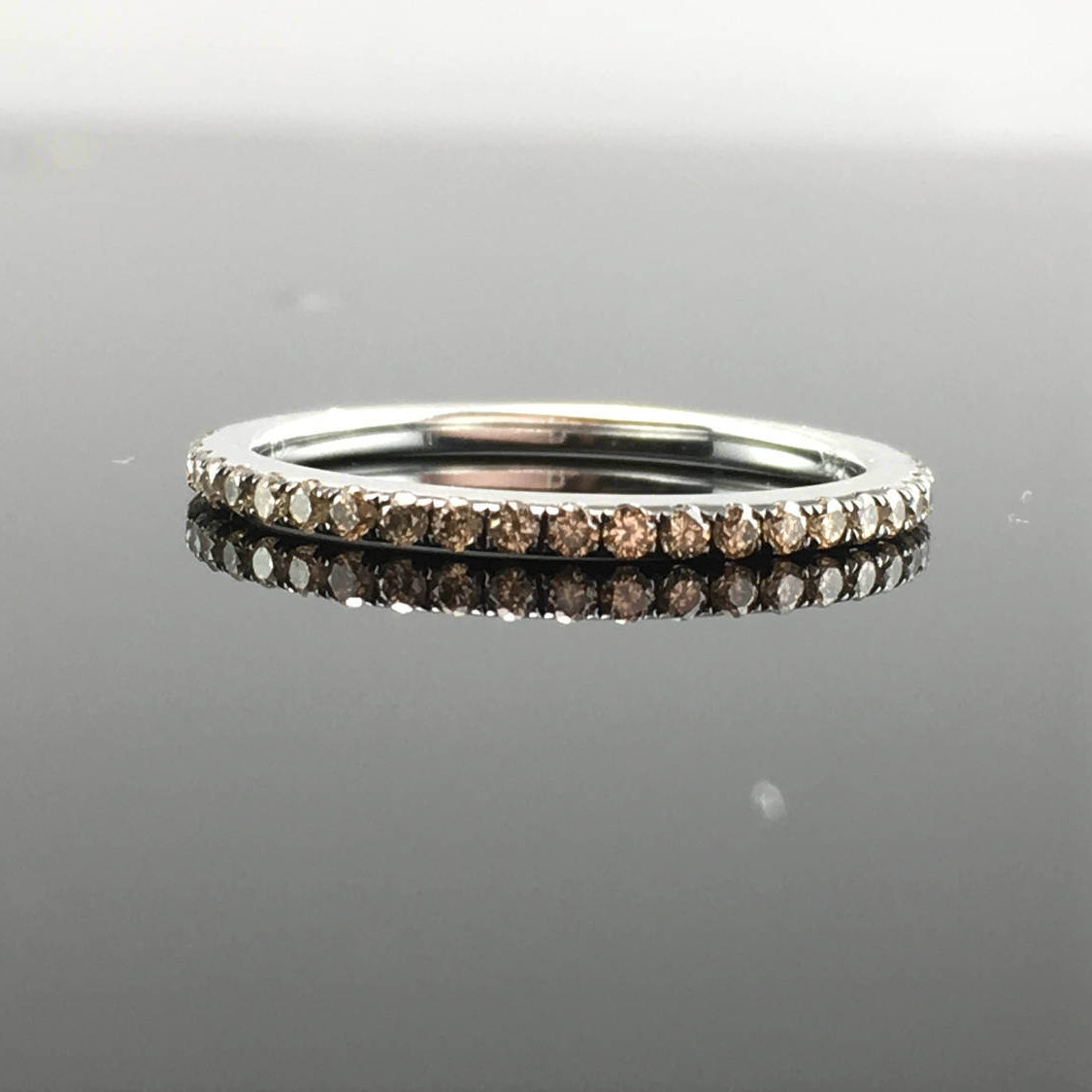 Champagne Diamond Wedding Band 14k White Gold Thin Champagne Diamond Band Round Champagne Diamond (View 3 of 25)