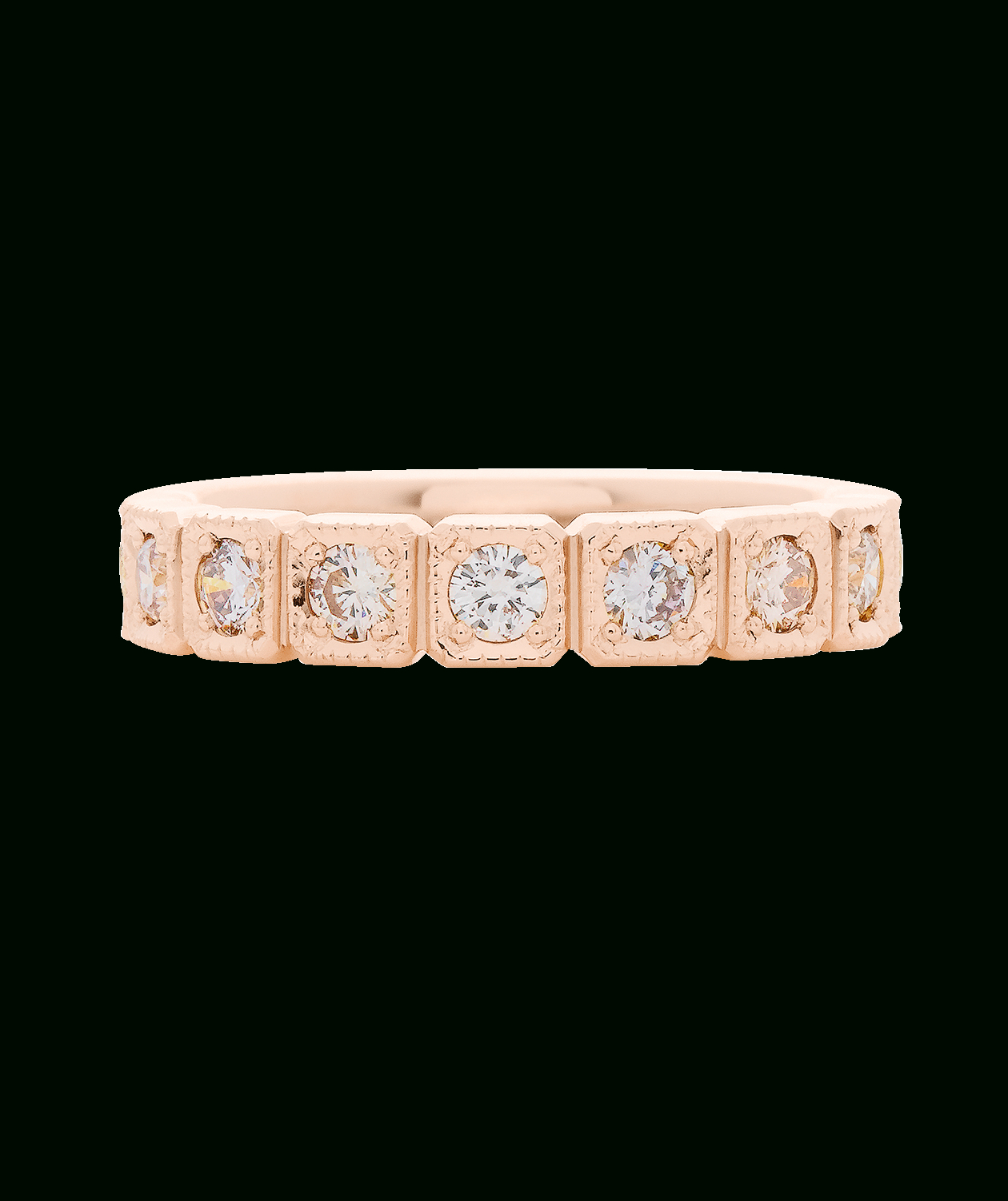 Featured Photo of Champagne And White Diamond Edge Anniversary Bands In Rose Gold