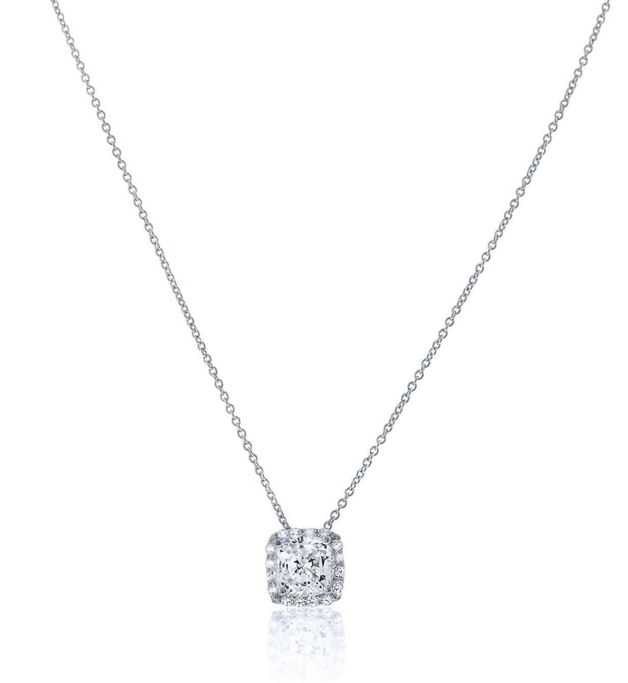 Chandi Diamond Square Pendant Necklace With Halo | Jewelry In 2019 For Latest Square Sparkle Halo Pendant Necklaces (View 2 of 25)