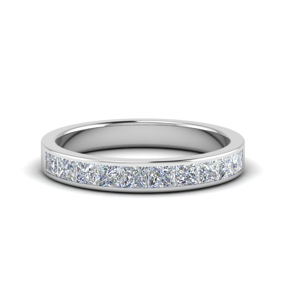 Featured Photo of Certified Princess Cut Diamond Contour Anniversary Bands In White Gold