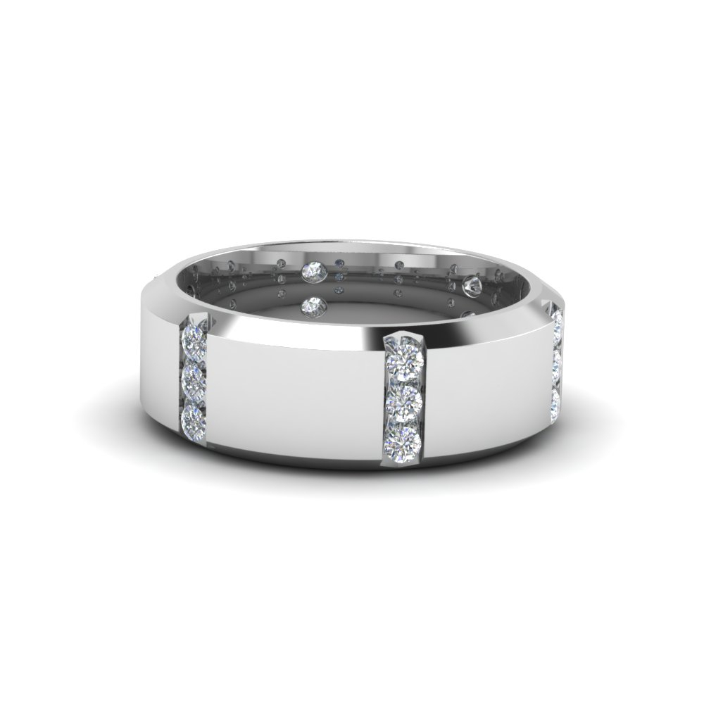 Channel Set 3 Stone Mens Anniversary Ring Inside Latest Diamond Channel Set Anniversary Bands In White Gold (View 9 of 24)
